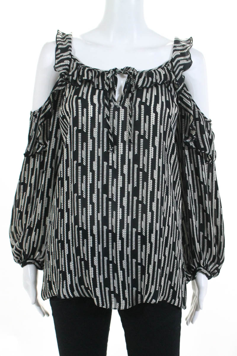 62644357745e6 Details about Parker Womens Top Size Medium Black Ivory Striped Silk Ruffle Cold  Shoulder