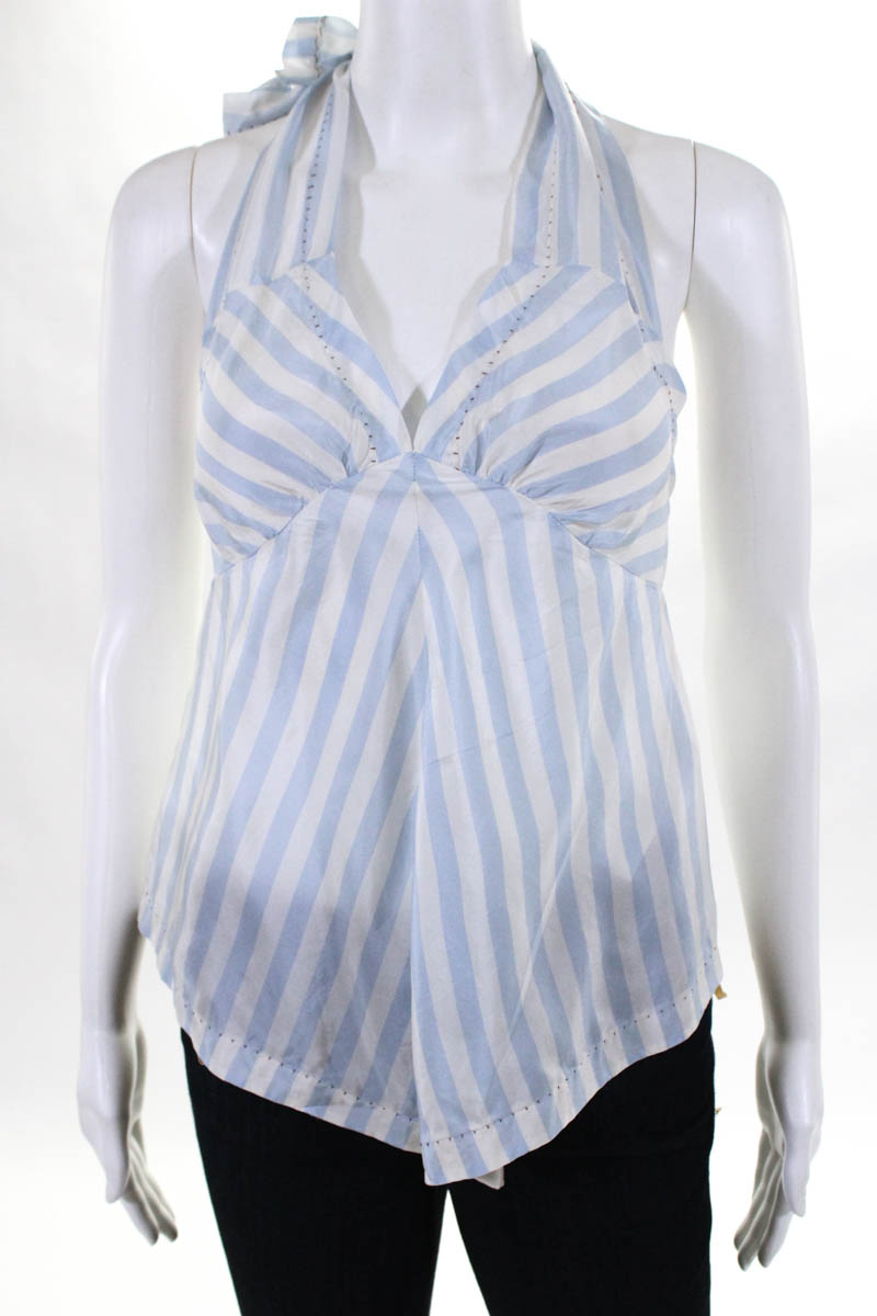 30509a9bcaed4 Details about Rozae Nichols Womens Top Blouse Size Small Blue White Silk  Halter Tank