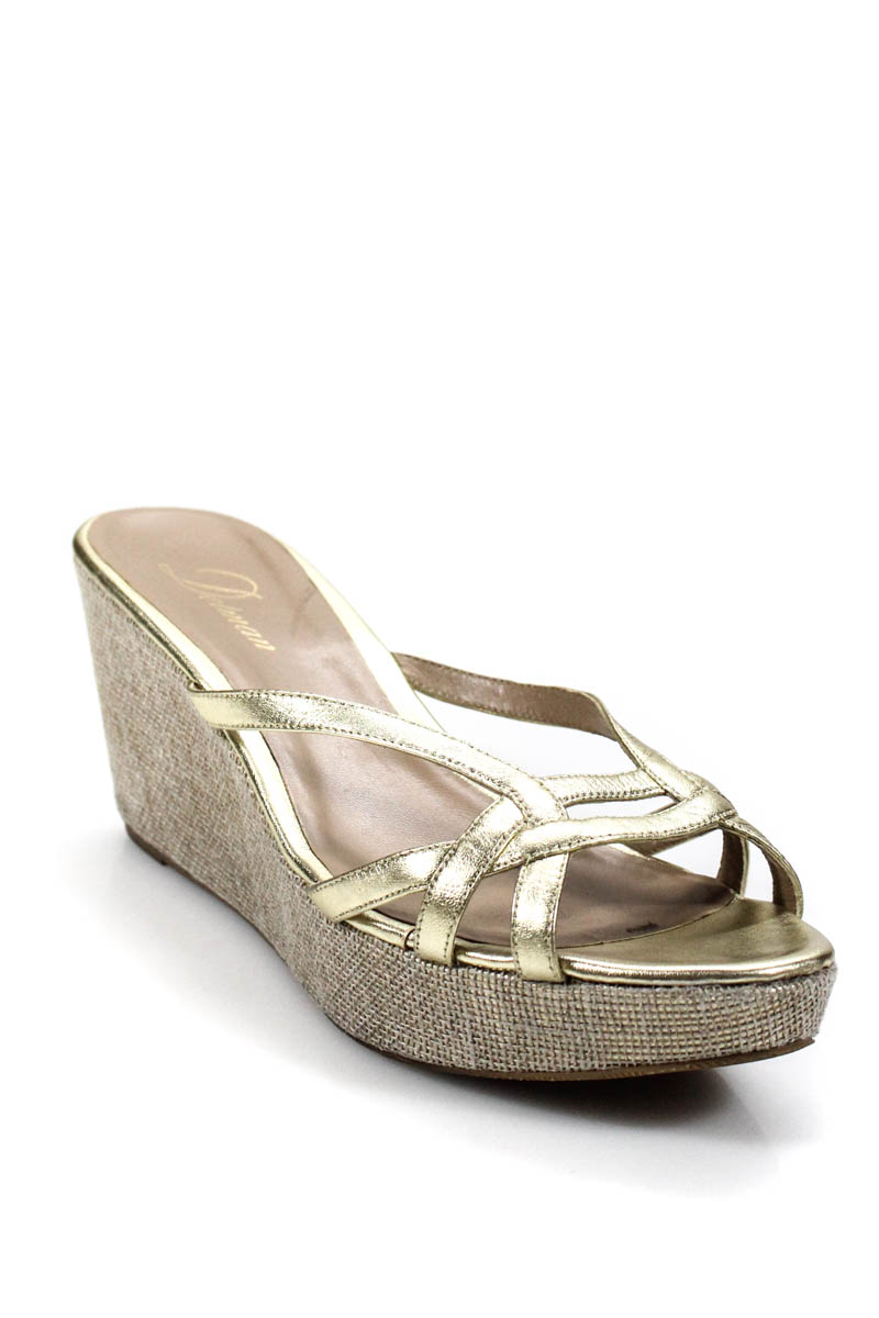 a43d35f0661 Delman Womens Wedges Gold Metallic Open Toe Leather