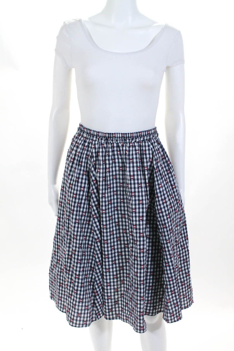 5dc2760bb Details about Maeve Anthropologie Womens Skirt Size Small Blue White Check  A Line Pull On