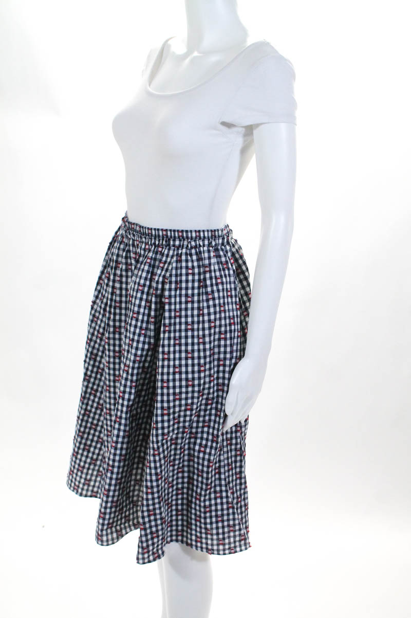 e5f18cf88 Maeve Anthropologie Womens Skirt Size Small Blue White Check A Line ...