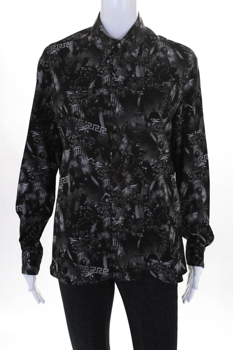 Details About Versus By Versace Shirt Size 48 Black Multi Printed New 524 Versacee On With Tags
