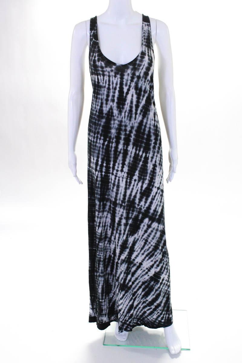 Soft Joie Womens Black White Cotton Tie Dye Print V Neck Maxi Dress
