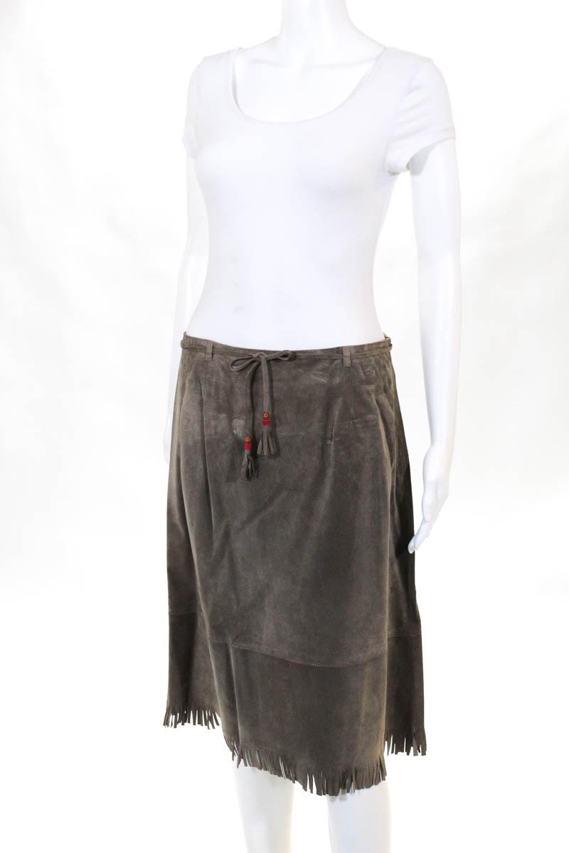 a999643624 Kookai Womens Skirts Size European 42 Grey Velour Knee Length Zipper ...