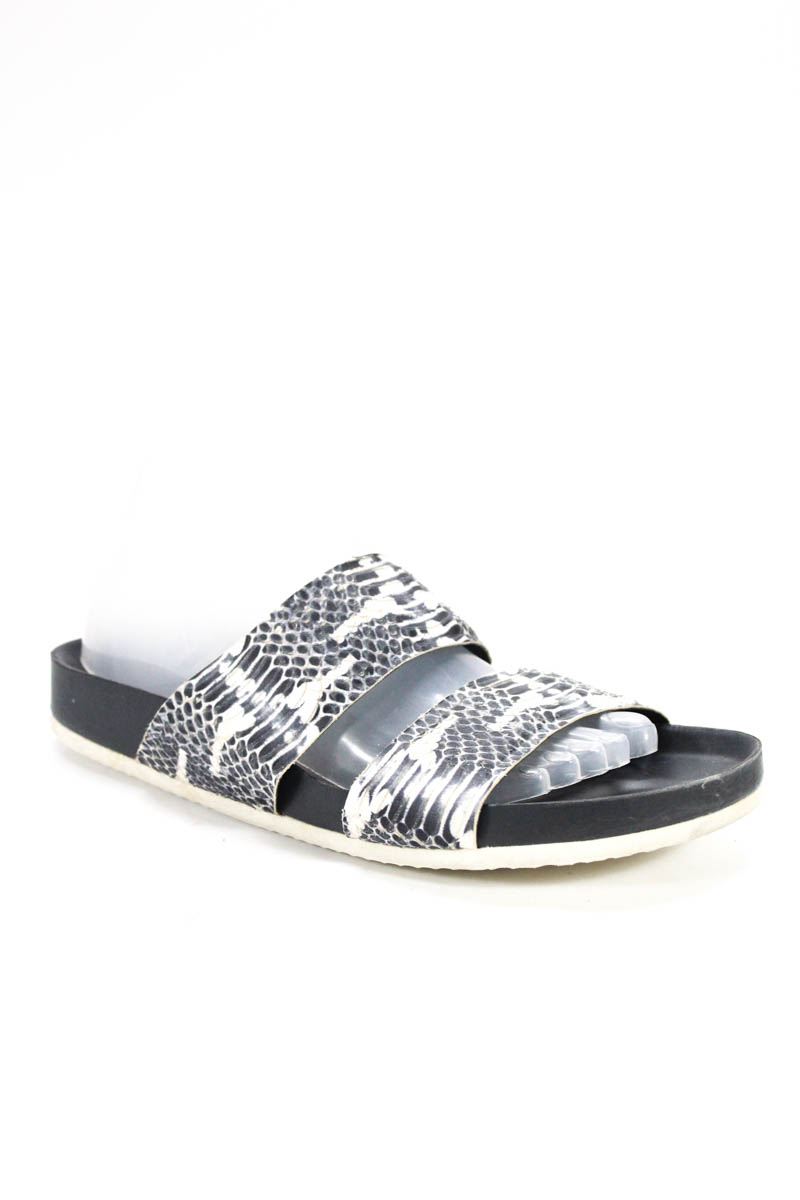 98b0a0a387b Vince Womens Gray White Leather Snakeskin Print Slide On Sandals Size 9  Medium