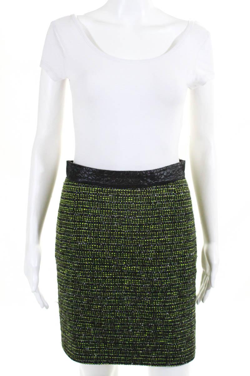 2f7fa4a09 Proenza Schouler Womens Pencil Skirt Size 6 Green Black Wool Geometric  Stitching