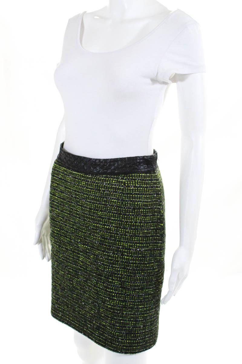711bcfc7b Proenza Schouler Womens Pencil Skirt Size 6 Green Black Wool ...