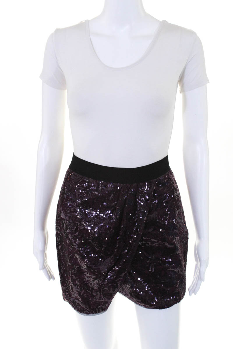3411cfd434 BCBG Max Azria Womens Dark Purple Sequined Tulip Joanne Skirt Size Extra  Small
