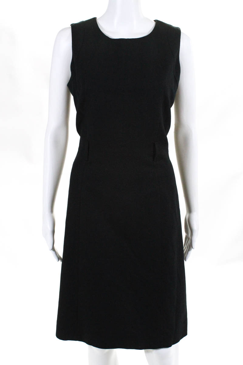 c38ac39217f Neiman Marcus Womens Dress Size 8 Black Linen Sleeveless Shift