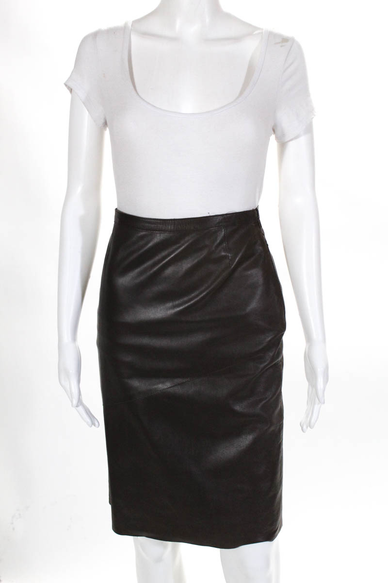 7f7713b59 Gucci Womens Skirt Size Italian 38 Brown Leather Pencil Straight | eBay
