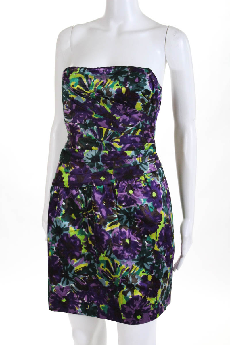 28720a9abfb0 BCBG Max Azria Womens Dress Size 4 Purple Yellow Strapless Floral Satin 2 2  of 7 ...