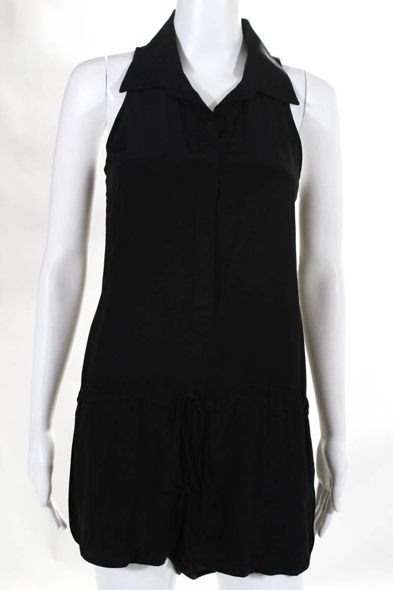 9572c71a670 Rory Beca Womens Romper Size XS Black Silk Sleeveless Drawstring