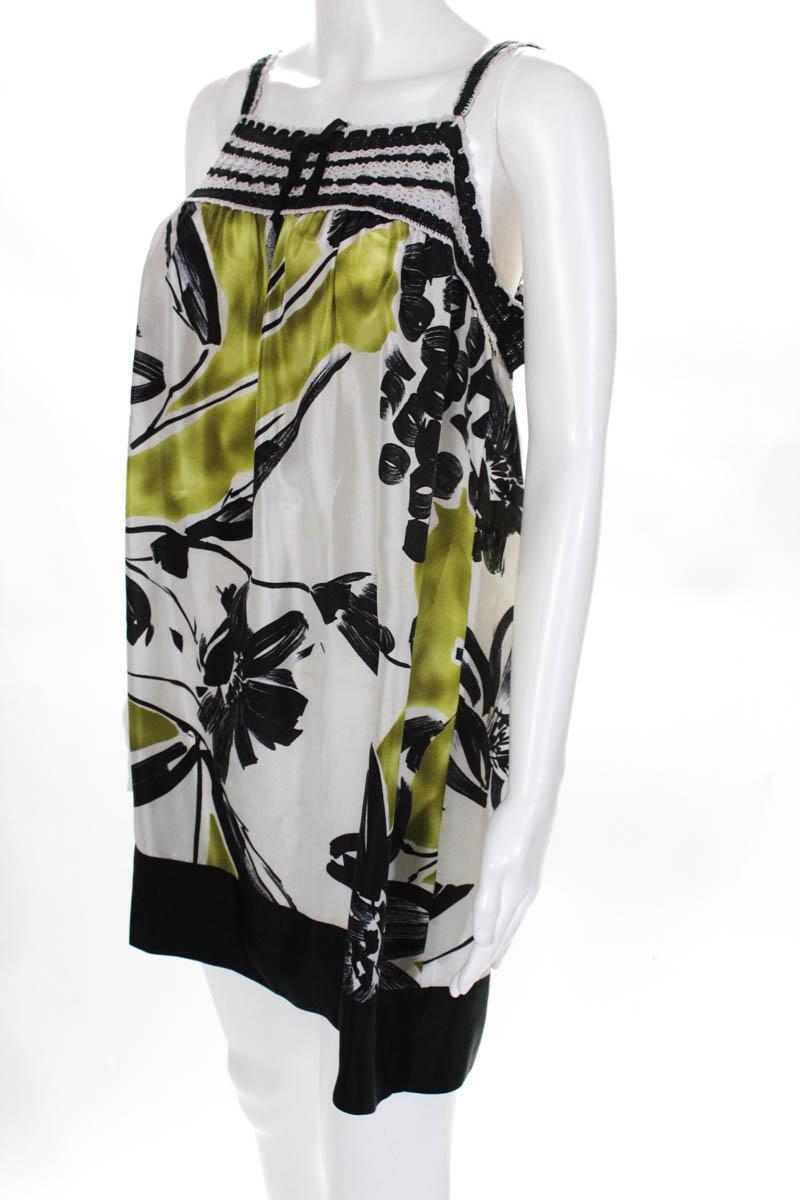 BCBG-Max-Azria-Womens-Dress-Size-Small-Multi-Color-Floral-Silk-Lace thumbnail 2