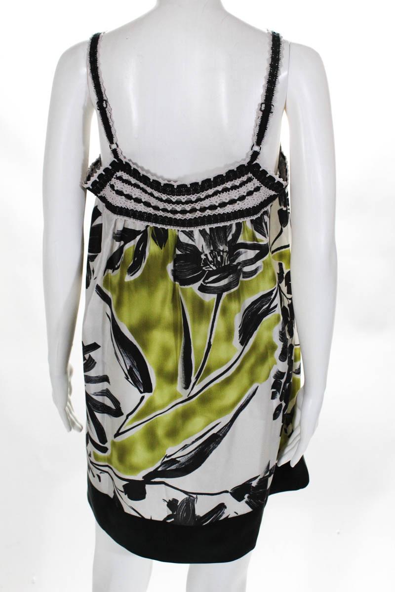 BCBG-Max-Azria-Womens-Dress-Size-Small-Multi-Color-Floral-Silk-Lace thumbnail 3