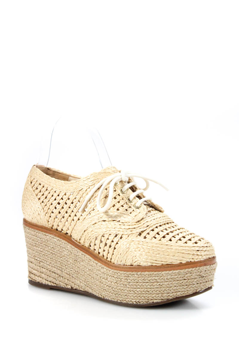 76f6f7820e65 Schutz Womens Size 5.5 Shoes Espadrilles Tan Brown Lace Up Platform ...