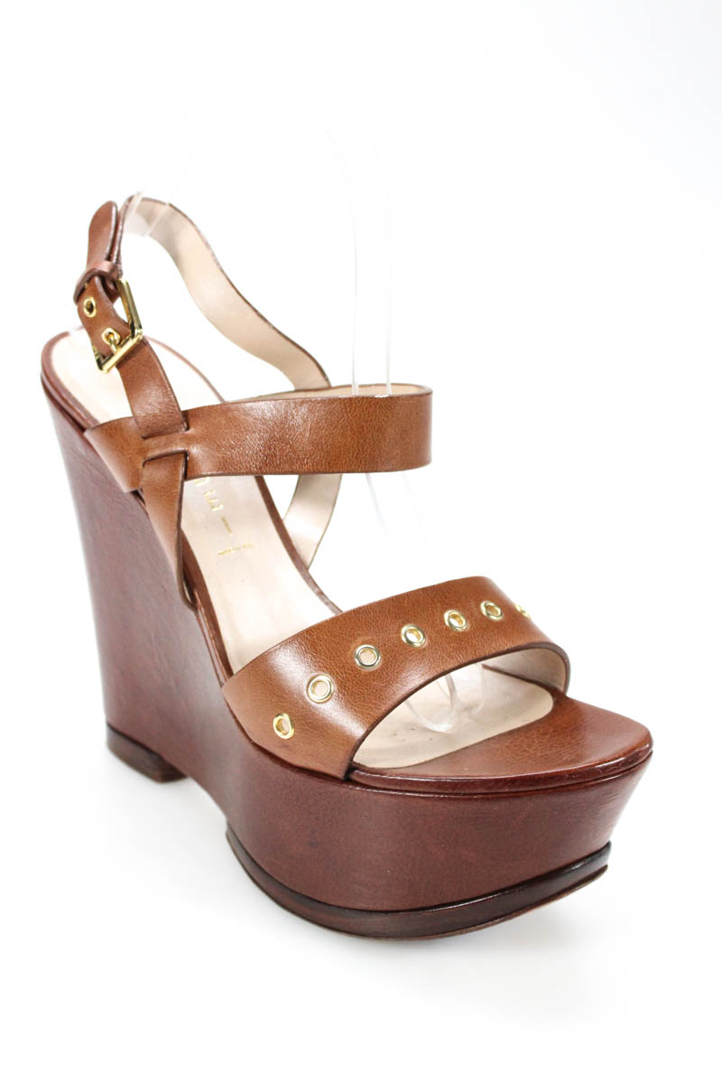 61fbcd588 Casadei Womens Sandals Size 39 9 Brown Leather Grommet Ankle Strap ...