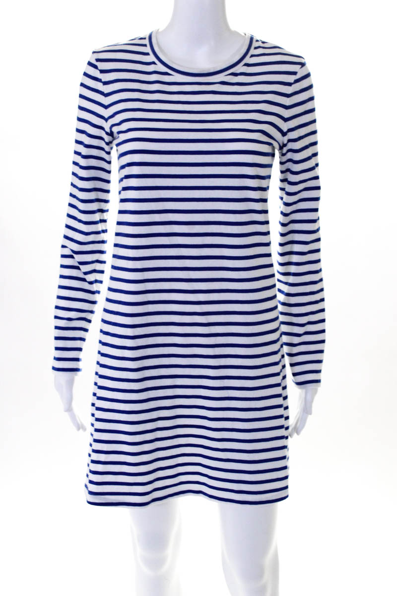138191f5a ALC Womens Dress Size Small Blue White Stripes Crew Neck Long Sleeve ...