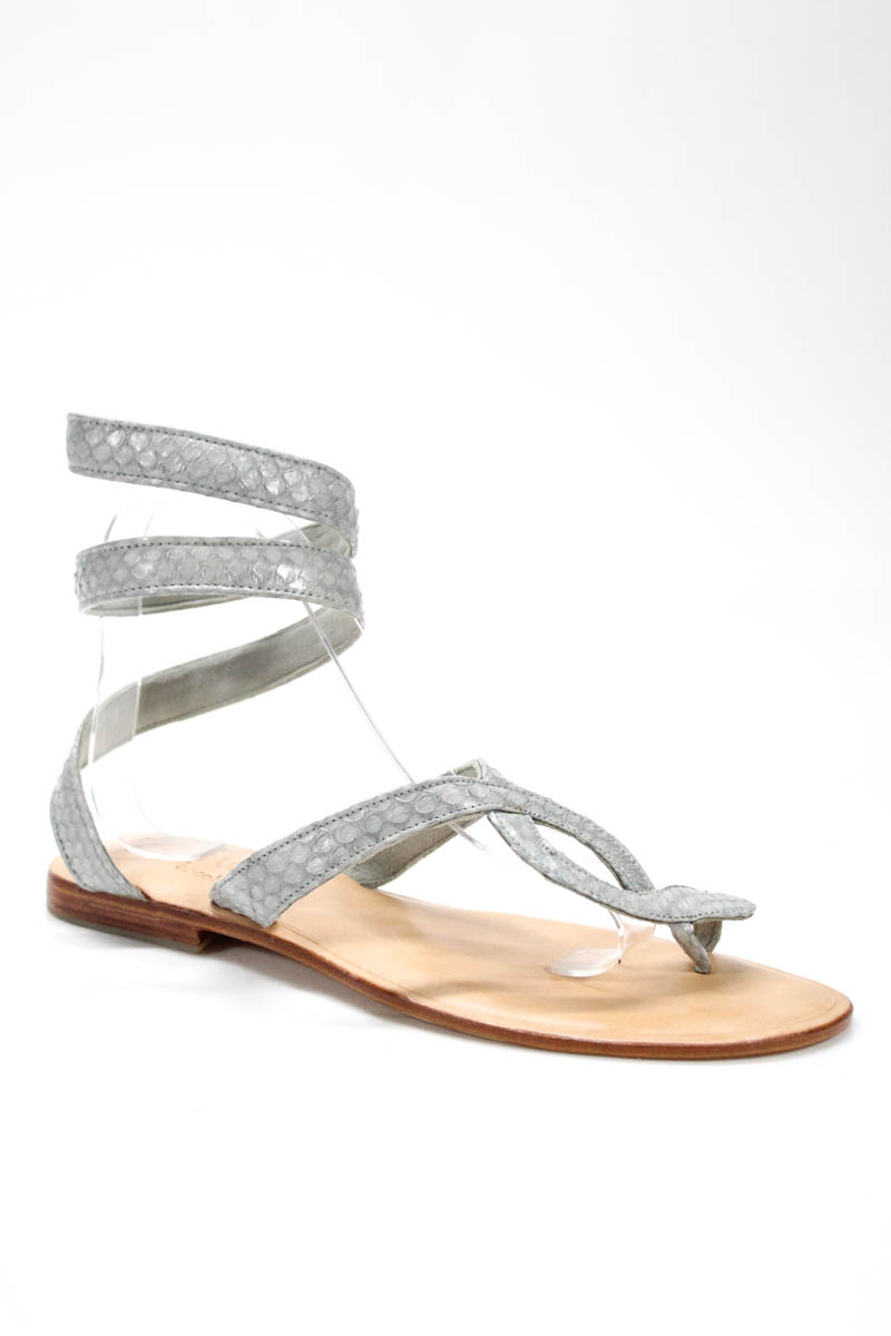 675c9c51dd5f4e L Space By Cocobelle Womens Sandals Size 40 10 Gray Snakeskin Wrap New  129