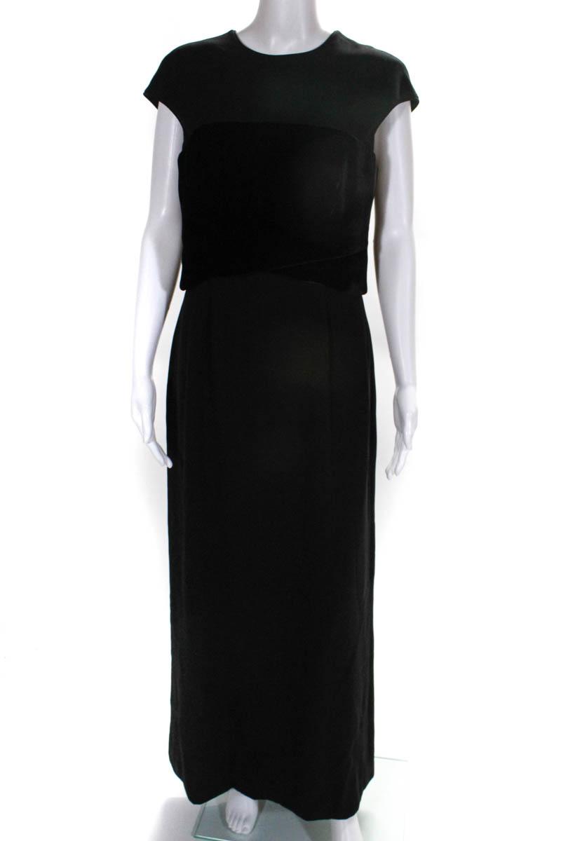 1aecc7f3f72 Giorgio Armani Womens Gown Size Italian 42 Black Velvet Cap Sleeve Full  Length