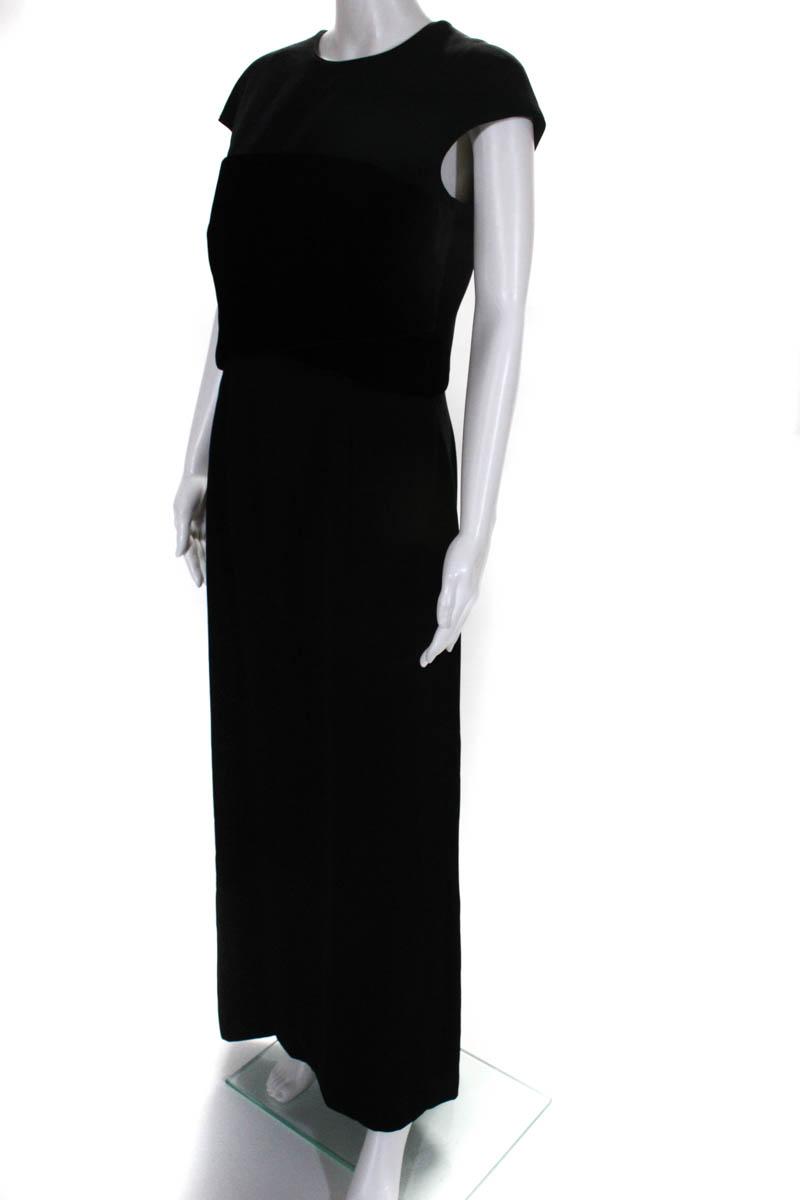 b4602b2e74b Giorgio Armani Womens Gown Size Italian 42 Black Velvet Cap Sleeve ...