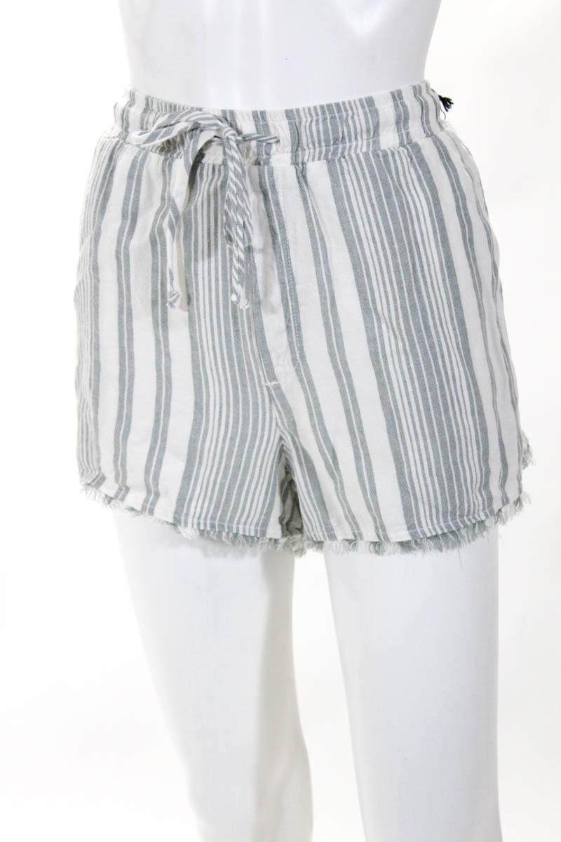 34e877bda32c Bella Dahl Womens Elastic Shorts Gray White Linen Striped Size Large ...