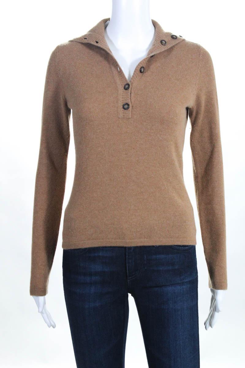 5bfccfc485 White + Warren Womens Sweater Size Small Beige Cashmere Long Sleeve Crew  Neck