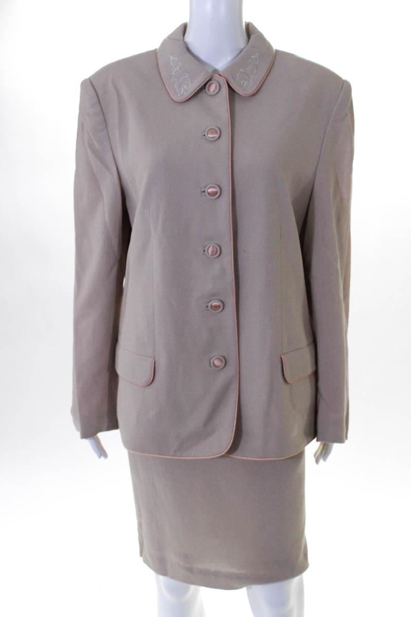 Lord Taylor Womens Skirt Suit Beige Button Down Blazer Size 14 Ebay