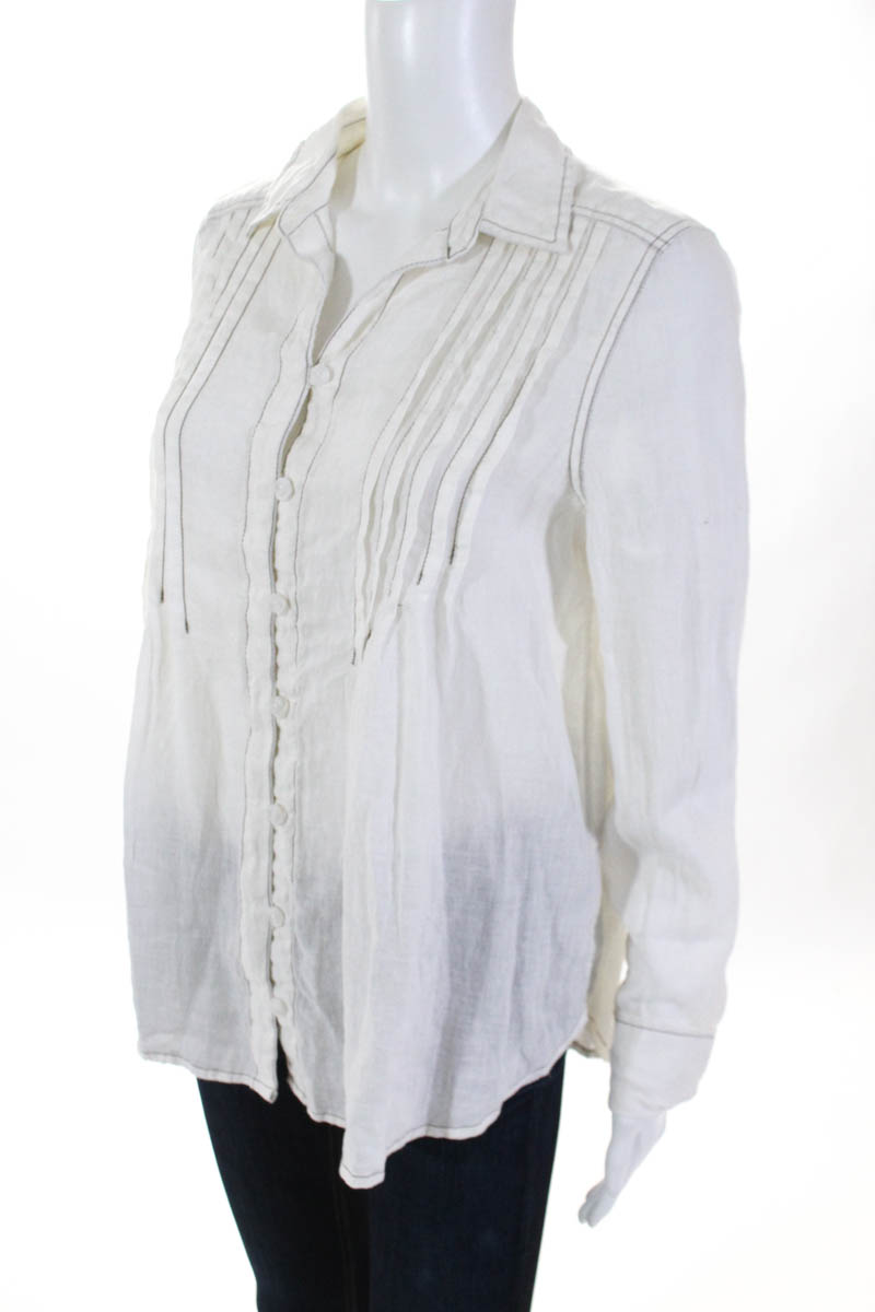7719072ee126 Free People Womens Button Down Top Shirt White Breezy Linen Size ...