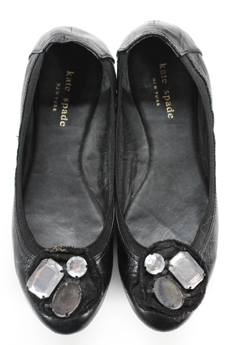 39eef6884b78f Kate Spade Womens Round Toe Ballet Flats Black Leather Embellished ...