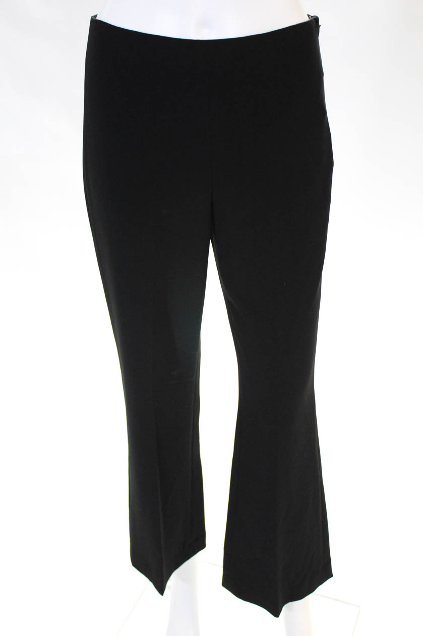 cbea53613e1 Theory Womens Knit Pants Flare Leg Crease Front Zipper Closure Black ...