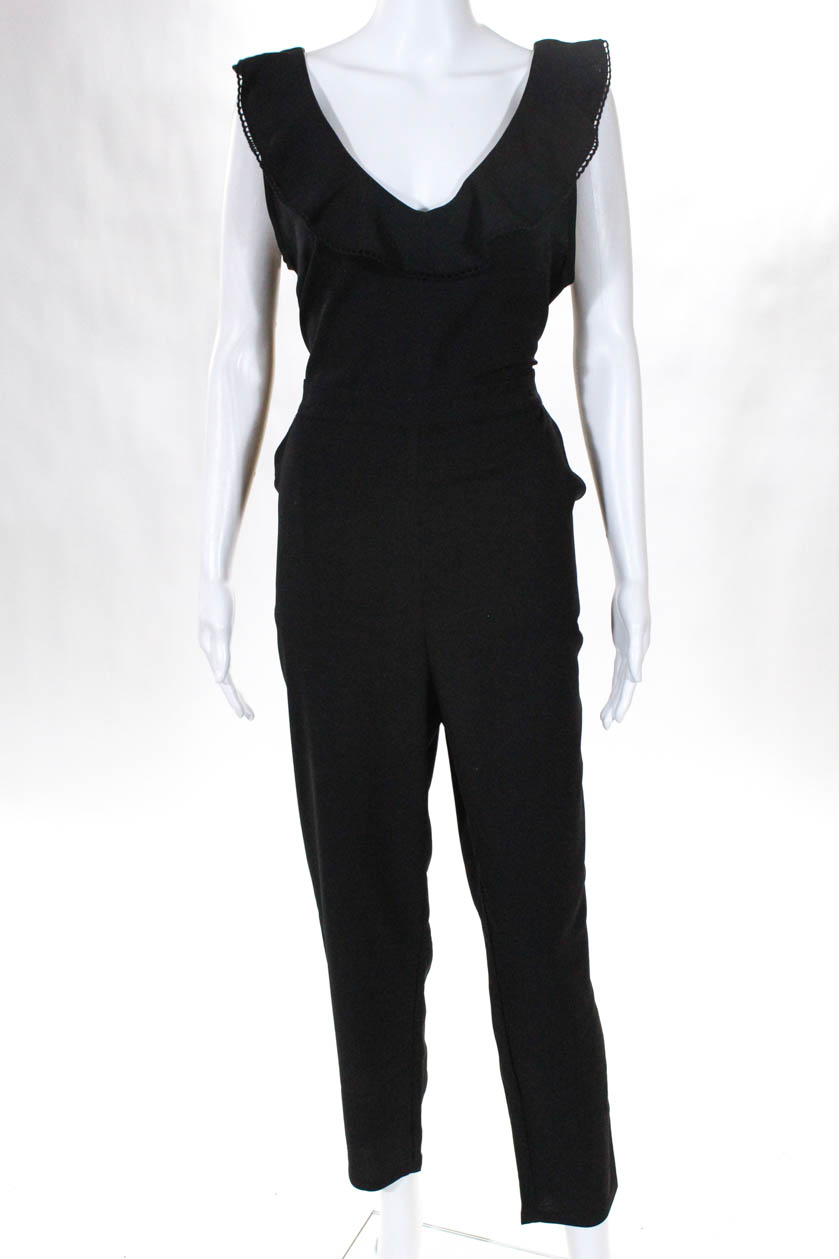 ebe5868f10f Cupcakes And Cashmere Womens Sleeveless V Neck Pants Jumpsuit Black Size 8