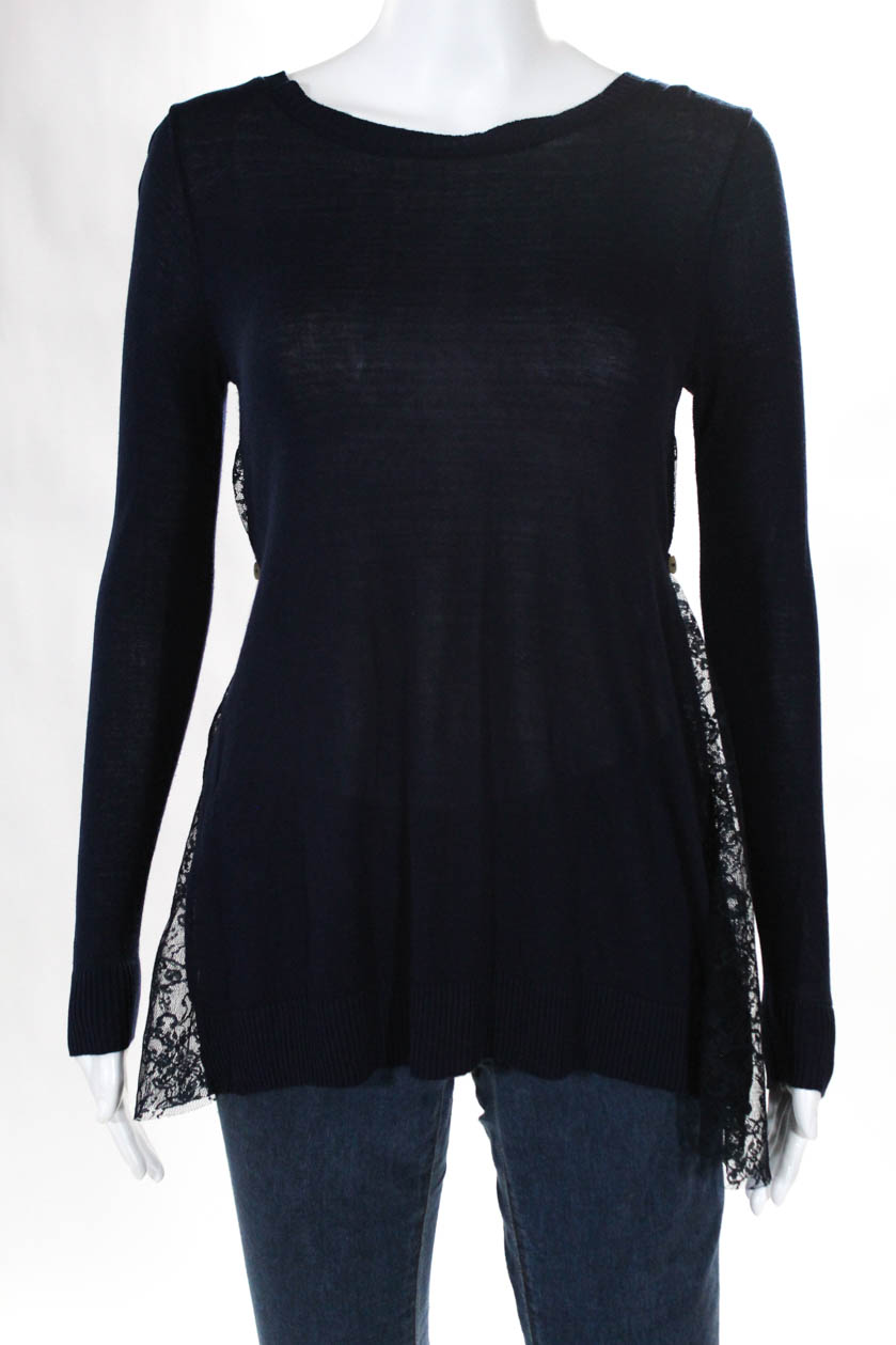 Hotel Particulier Womens Crew Neck Sweater Top Navy Blue Sheer Lace ... 41bac298423