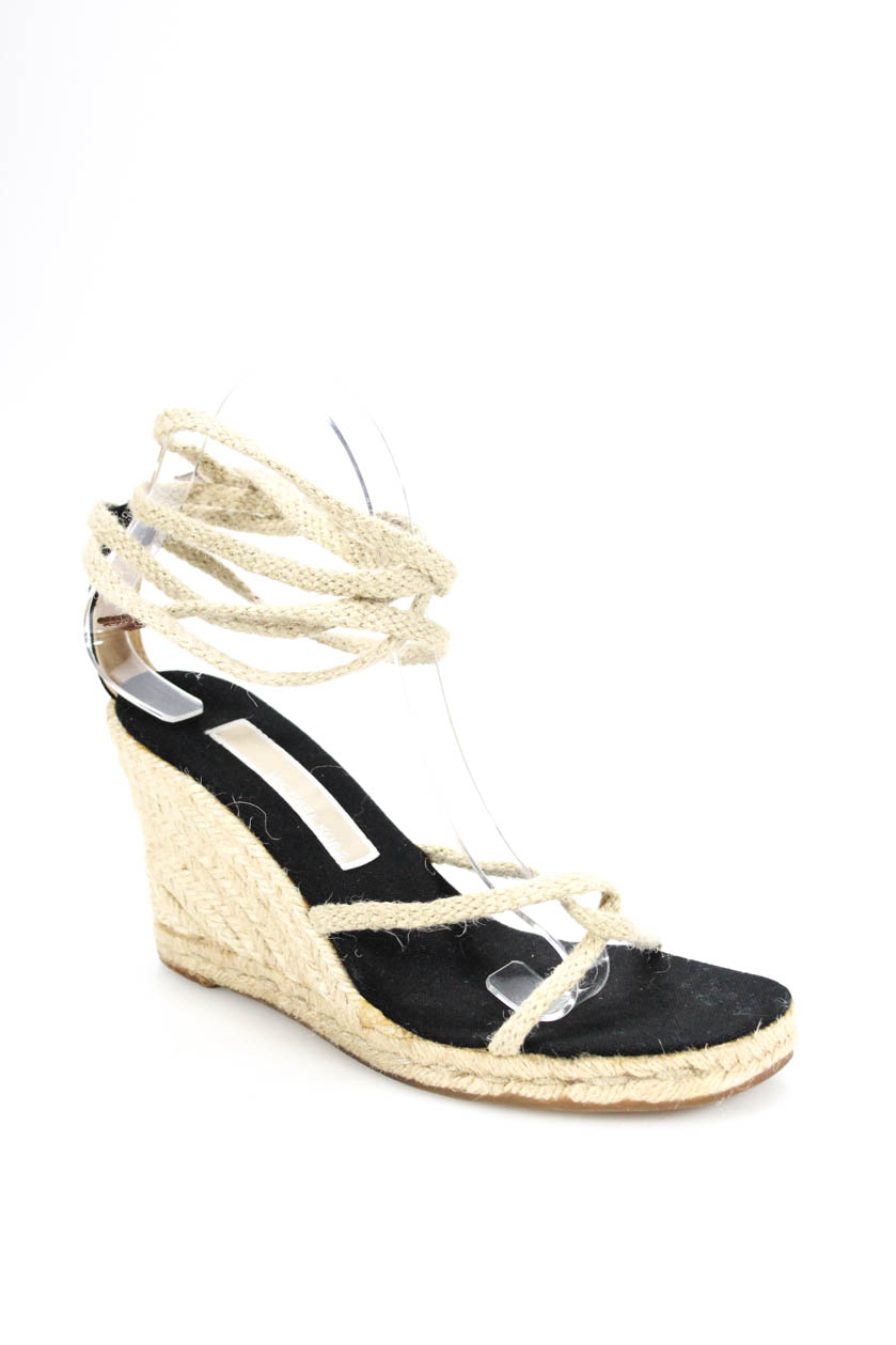 9f298f0cc434 Michael Kors Womens Lace Up Strappy Wedges Sandals Beige Rope Size 36 6
