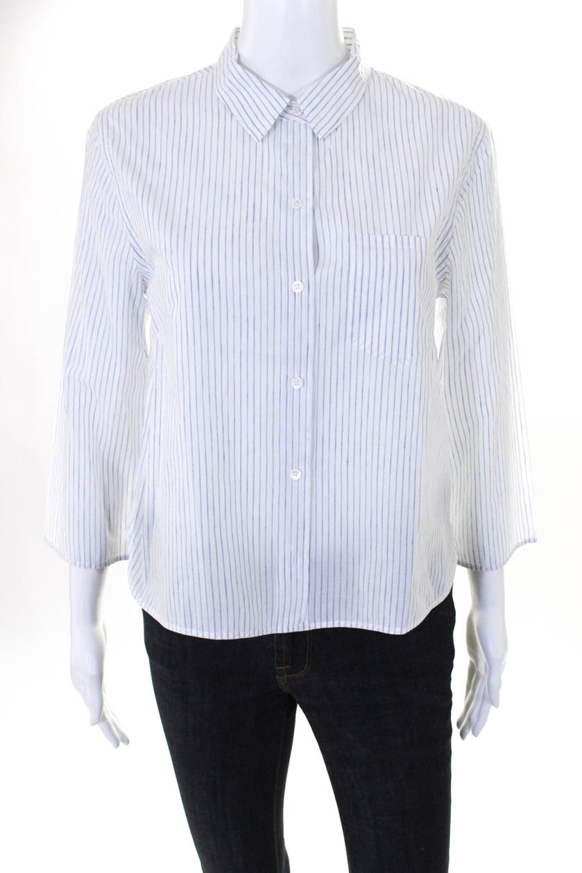 936f58c0106c2e Theory Womens Long Sleeve Button Down Blouse Top Blue White Cotton ...