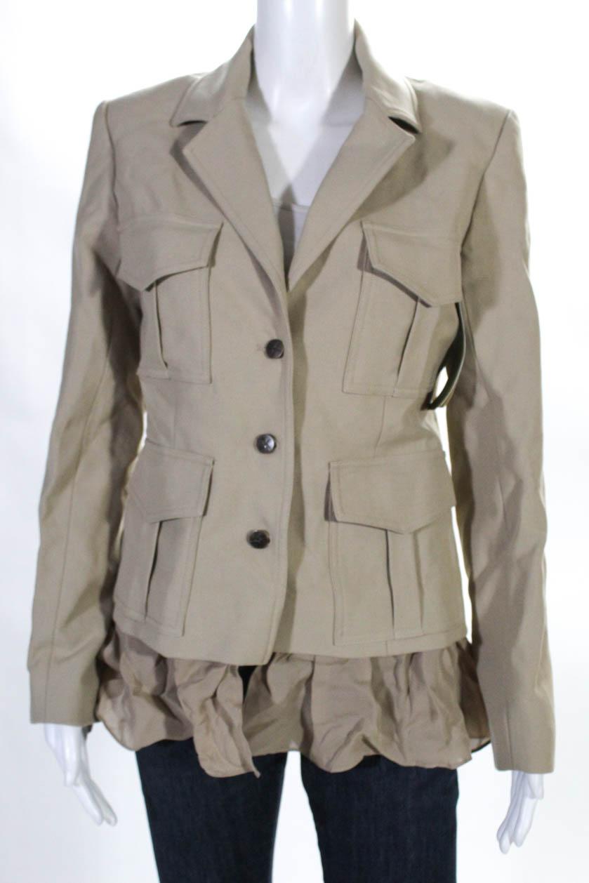 f69ff3e8df949 Artelier Nicole Miller Womens Ruffled Jacket Khaki Long Sleeve Size ...