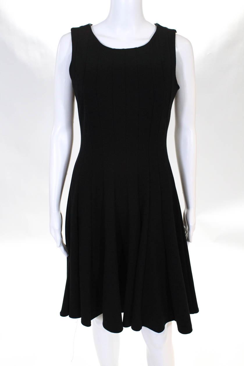 55c351af Details about Calvin Klein Womens Zipper Back Scoop Neck Knee Length Dress  Black Size 4