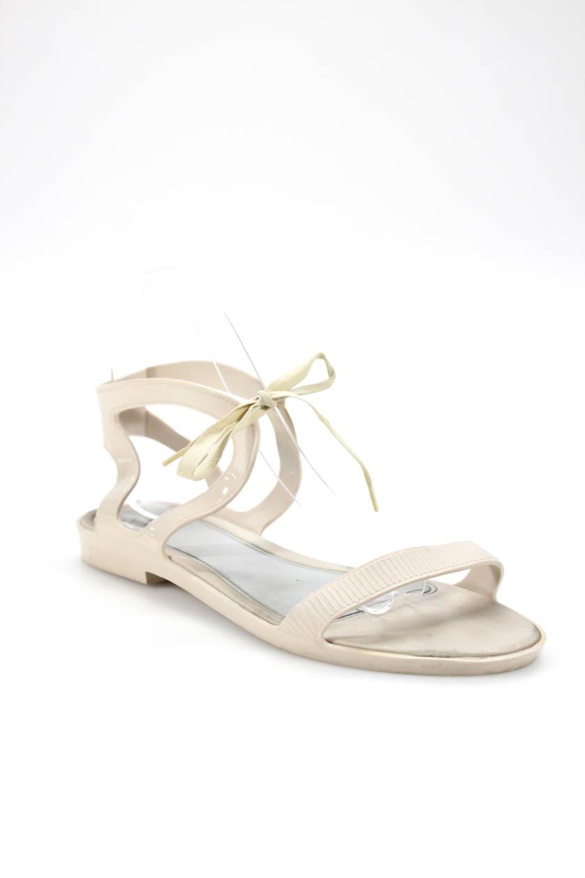 8f2ad5ae3f58 Melissa + Jason Wu Womens Open Toe Ankle Strap Sandals Flats Tan Size 8