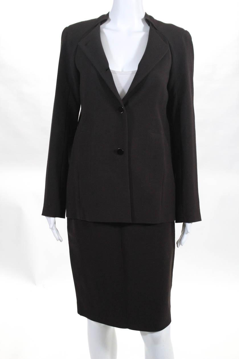 Calvin Klein Womens Long Sleeve Button Down Crew Neck Skirt Suit