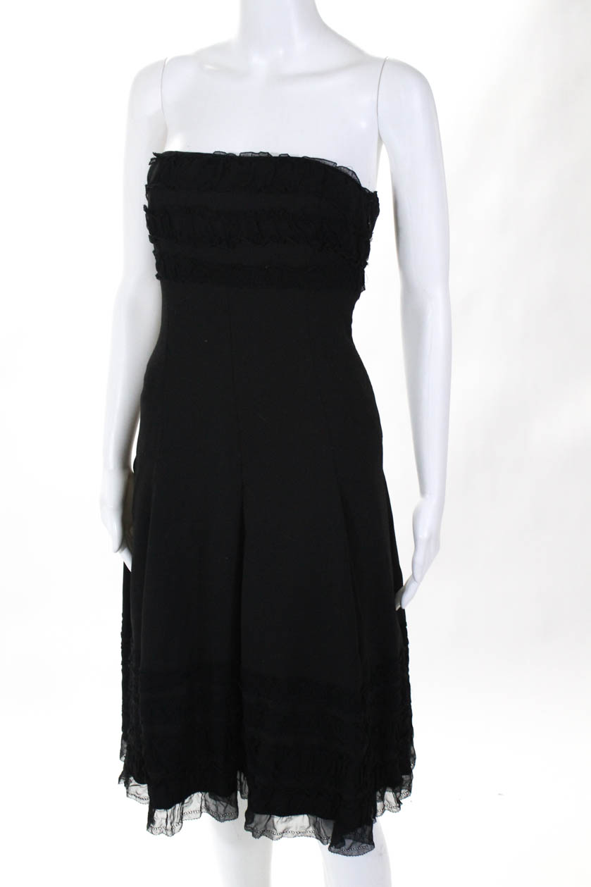866afcdee20 Cynthia Cynthia Steffe Womens Strapless A Line Ruffle Dress Black ...