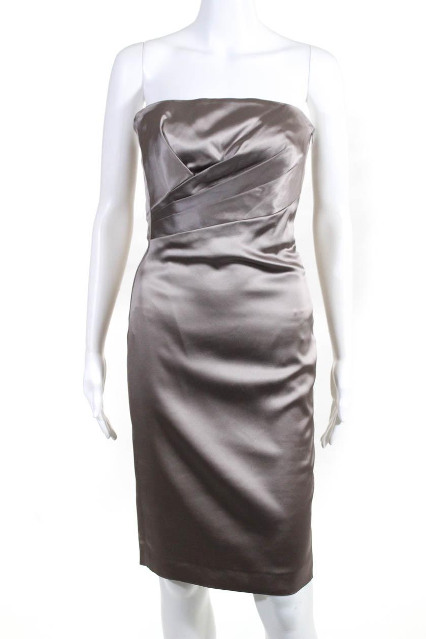 4c928dceab27c Alberta Ferretti Womens Strapless Mini Dress Empire Waist Gray Size ...