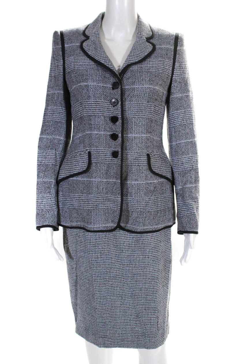 Rena Lange Womens Glen Plaid Skirt Suit Blue Gray Piping Trim Size 6