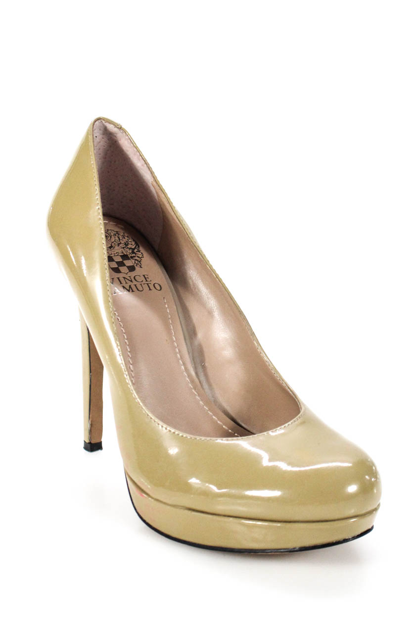 d6f5f7d70fb0 Details about Vince Camuto Womens Round Toe Slip On Platform Pumps Tan  Patent Leather Size 6.5