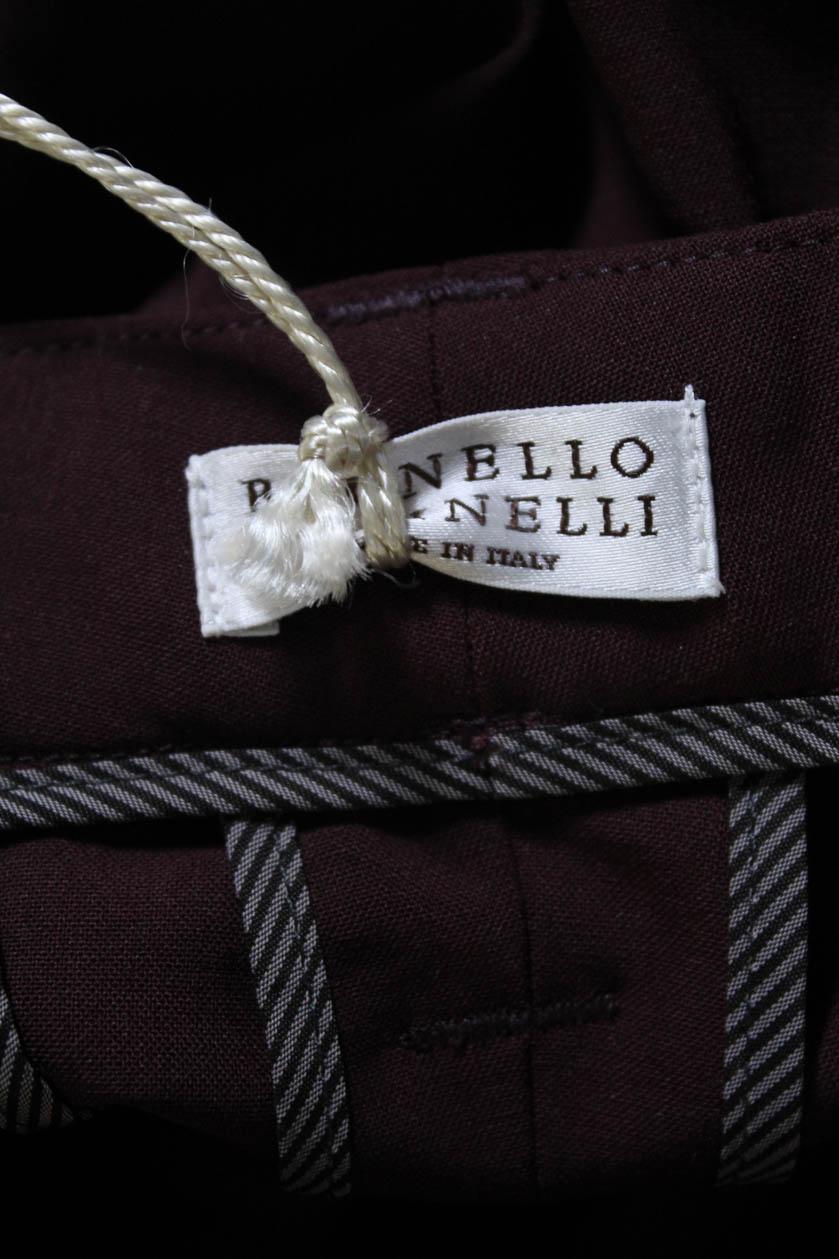 3ce920497 Brunello Cucinelli Womens Pleated Straight Leg Dress Pants Red Wool ...