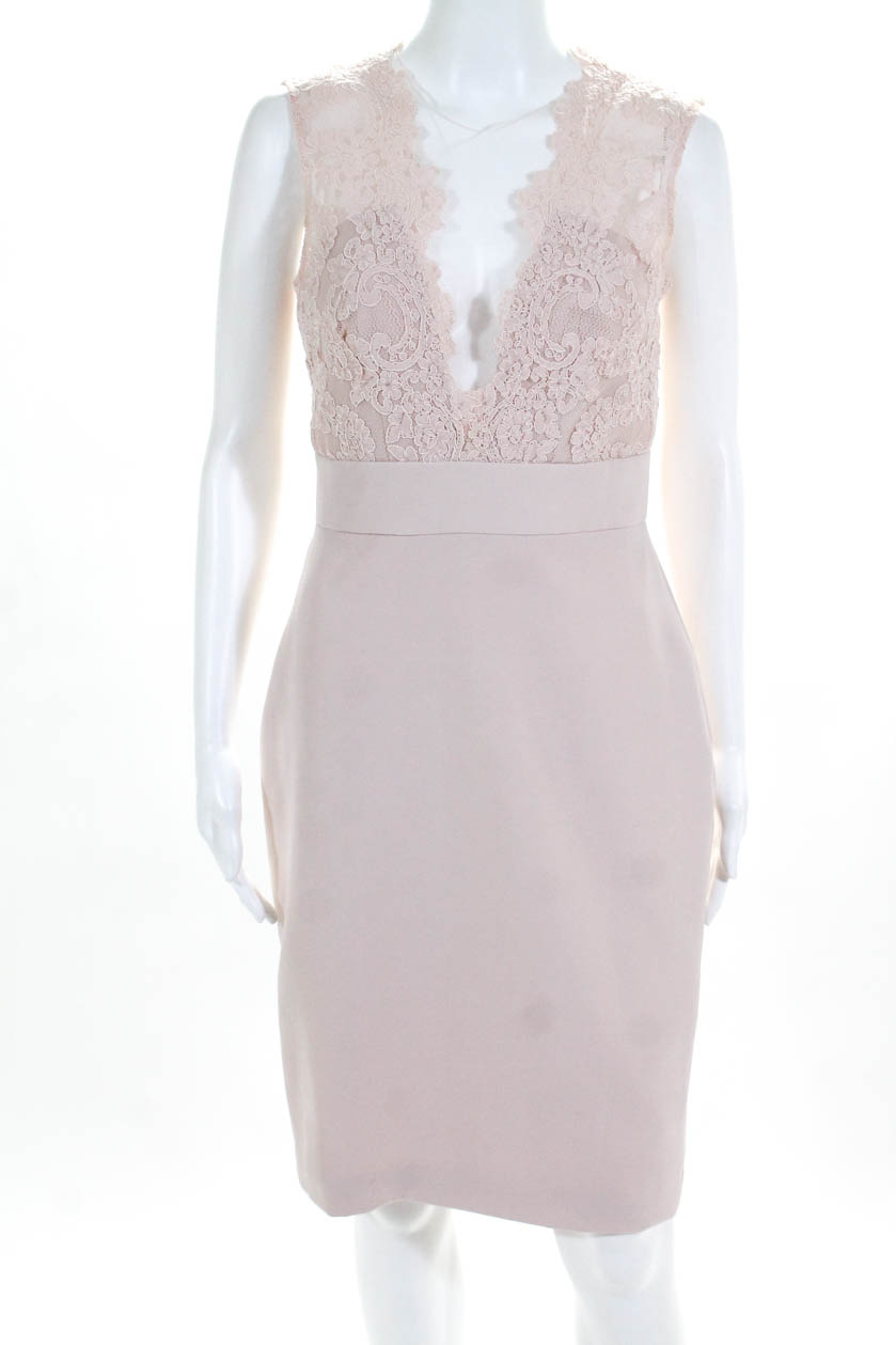 1239eec5955f Theia Womens Blush Midnight Lace Sleeveless Sheath Pink Size 4 11002536