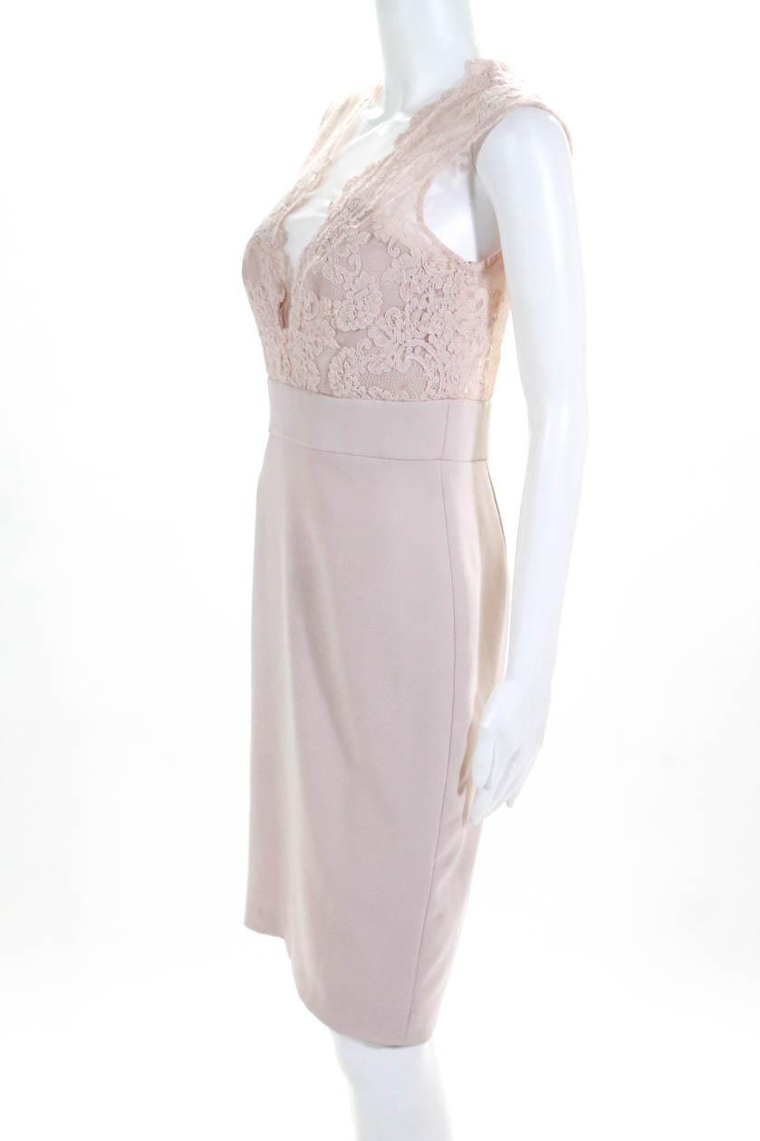 397cbfe59563 Theia Womens Blush Midnight Lace Sleeveless Sheath Pink Size 4 ...