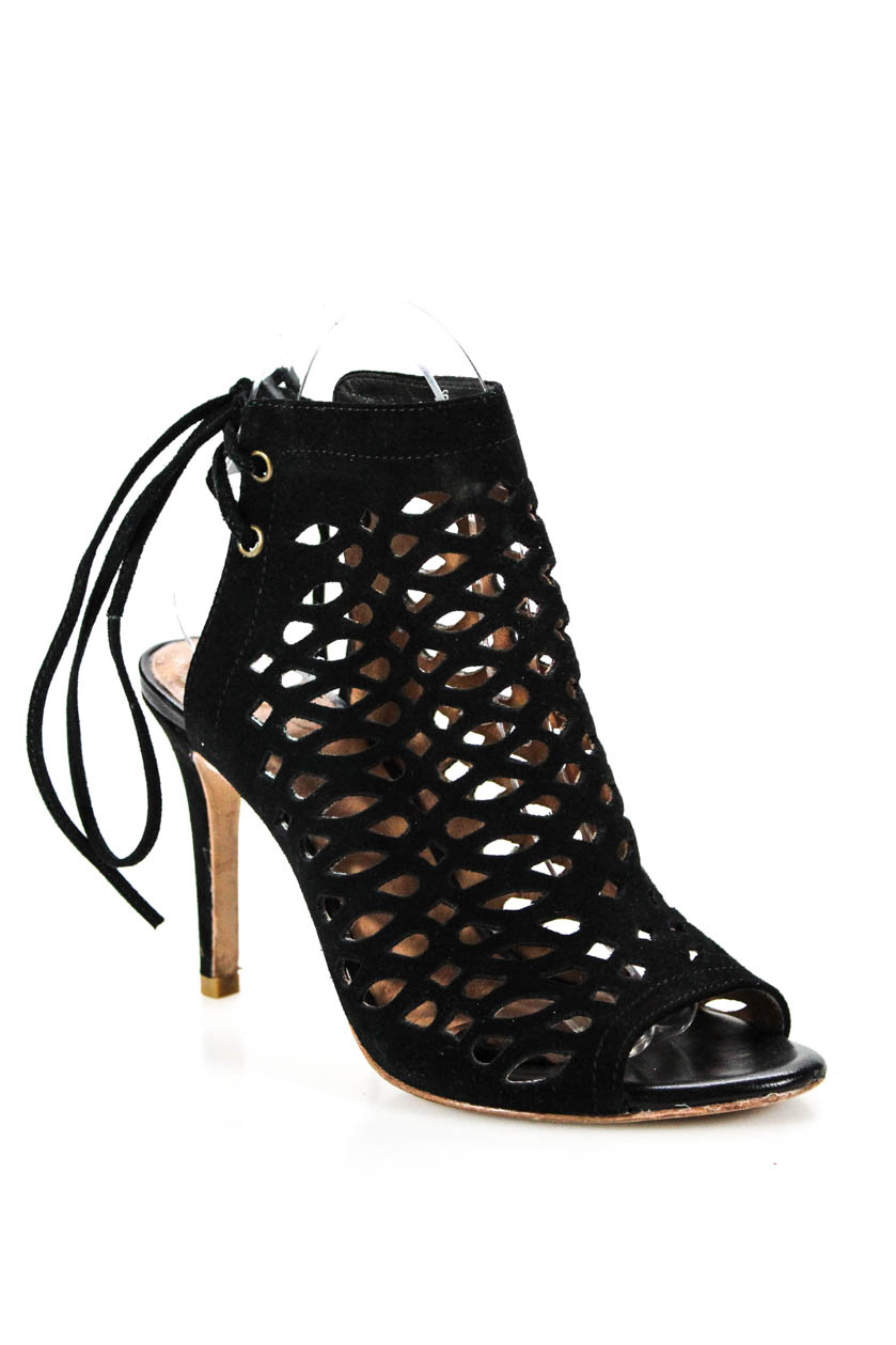 3fabc5175633 Details about Joie Womens Lace Up Strappy Sandals Heels Black Suede Cut Out  Size 36 6