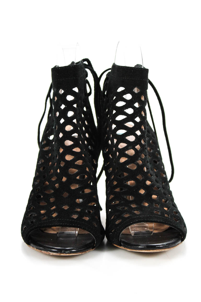 274abb191546 Joie Womens Lace Up Strappy Sandals Heels Black Suede Cut Out Size ...