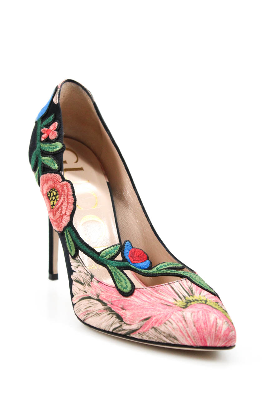 0bd32010b7ba Details about Gucci Womens 2018 Ophelia Embroidery Pumps Pink Green Black  Size 37.5 7.5