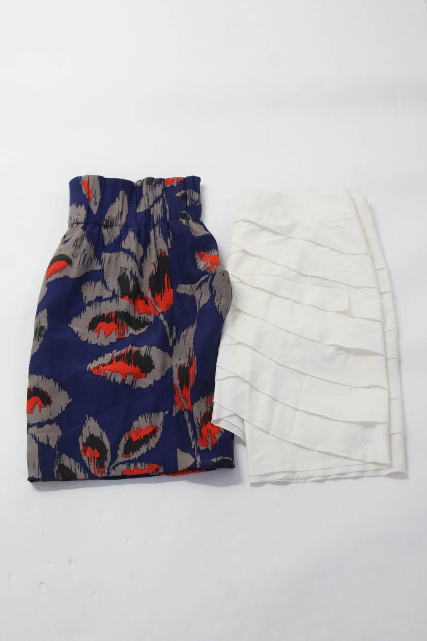 81403f402f Dolce Vita BCBG Max Azria Womens Mini Skirt Off White Blue Size Small LOT 2