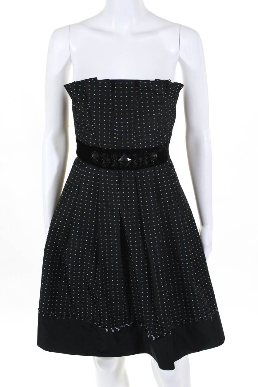 7b0e1df825 Details about BCBG Max Azria Womens Strapless Cocktail Dress Black White  Empire Waist Size 4